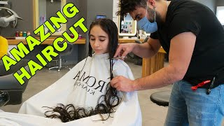 Trendy Long to Short AMAZING Hair Transformation | Girl Haircut | ASMR Haircut Barber Sound