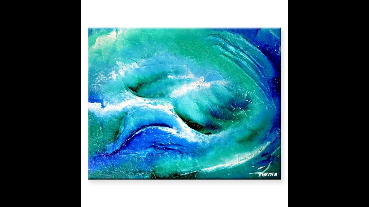acrylic painting tutorial riding waves sea wave in abstract