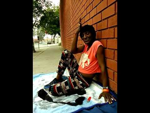 Interview with homeless transgender in the back street of skid row