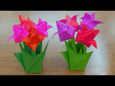 How To Make Paper Tulip Flowers Bouquet || Diy Tulips Flowers Vase || You Can Do This