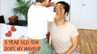 3 Year Old Son Does Mommy's Makeup    Brownbeautysimor
