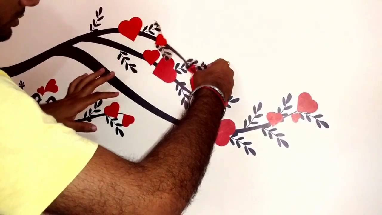 How To Apply Wall Stickers On The Wall (Self) 2016   YouTube