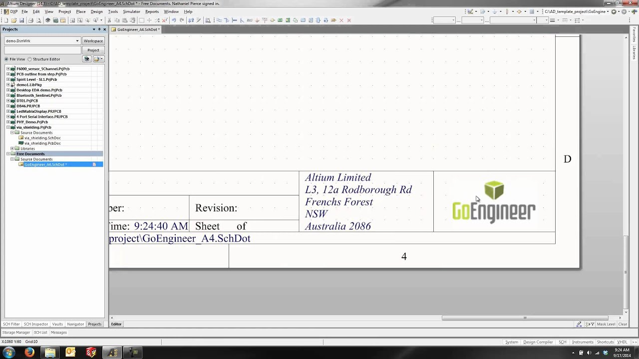 altium designer - create a custom schematic template - youtube, Schematic