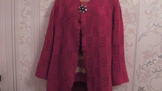 Вязание красивого красного жакета спицами.Схема. Видео урок.