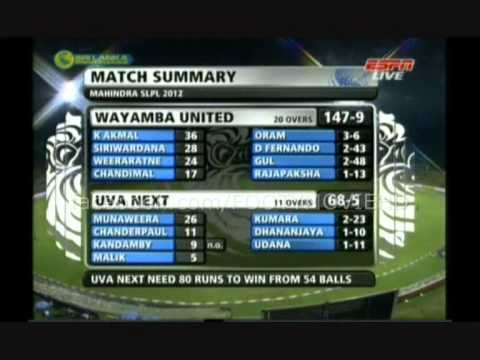 Wayamba United v Uva Next 17-08-12 SLPL FULL MATCH HIGHLIGHTS HQ