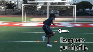 Cornerback drills: hip flips to 45 degree break