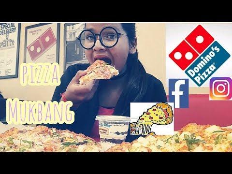 Domino's cheesy pizza l MUKBANG l Fresh Veggie+Paneer makhani+Butterscotch Moussecake l NewYearfeast