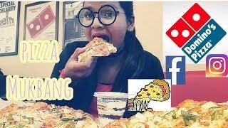 Domino's Pizza MUKBANG l Fresh Veggie+Paneer makhani+Butterscotch Moussecake l NewYearfeast