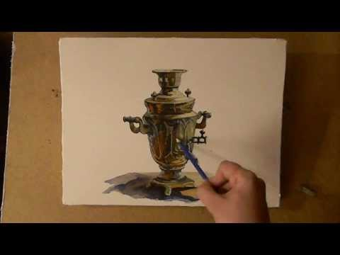 Как нарисовать самовар карандашом поэтапно