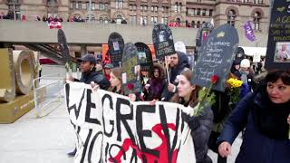 Protesters participate in a rally and lie-in at City Hall to call on Mayor John Tory to acknowledge the overdose crisis in Toronto and the importance of safe injection sites like the one set up in Moss Park.