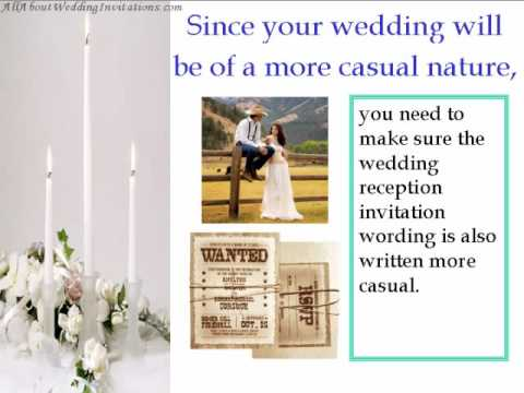 Tips for a informal wedding reception invitation wording youtube tips for a informal wedding reception invitation wording stopboris Image collections