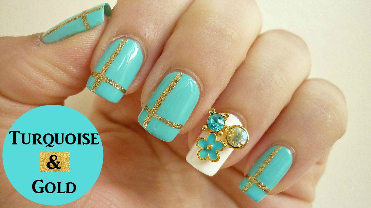 Elegant Turquoise and Gold Plaid Nail Art