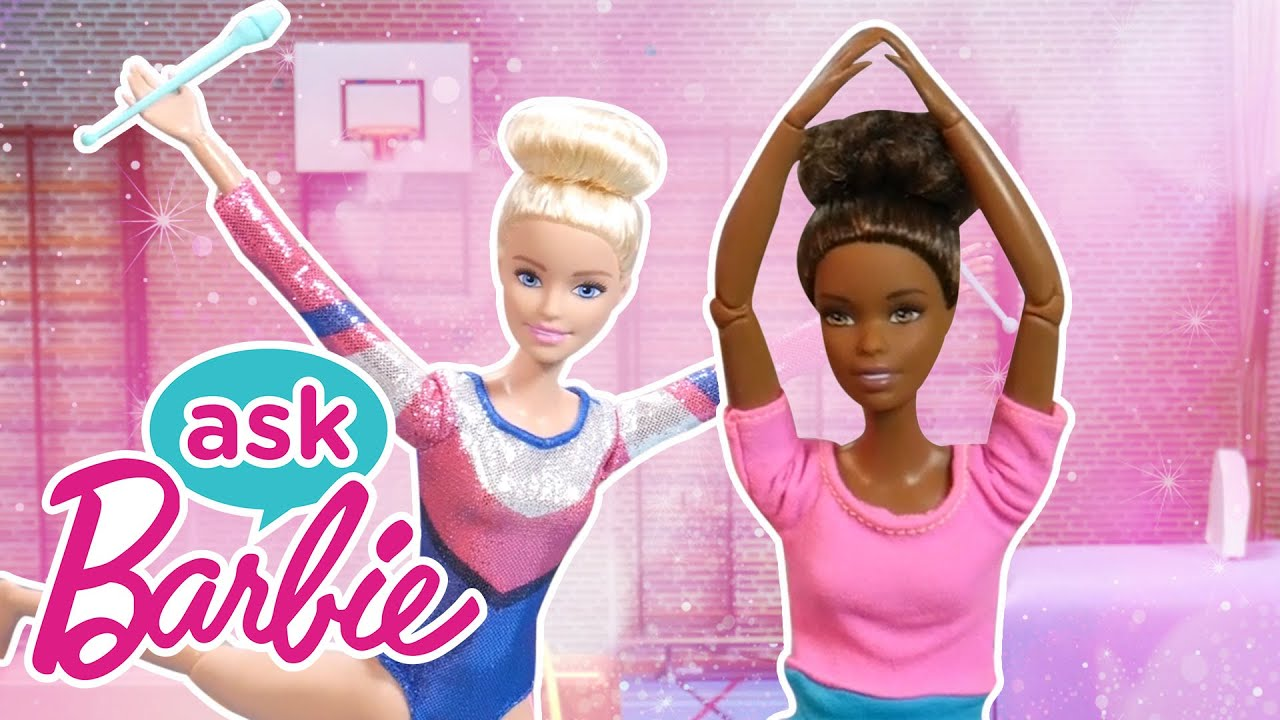 Ask Barbie About GYMNASTICS Competitions with Friends! | Barbie