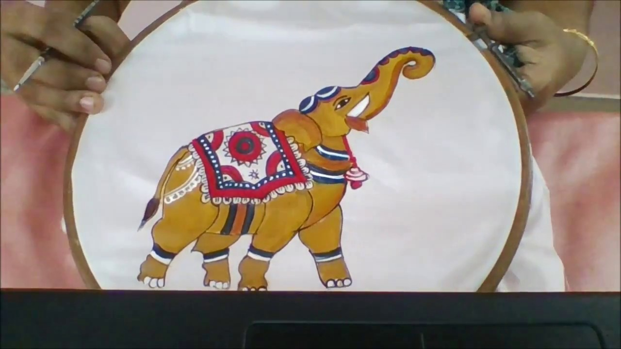 bdd24817e Kalamkaari fabric painting - elephant design - YouTube