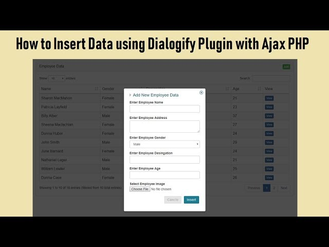 How to Insert Data using Dialogify Plugin with Ajax PHP