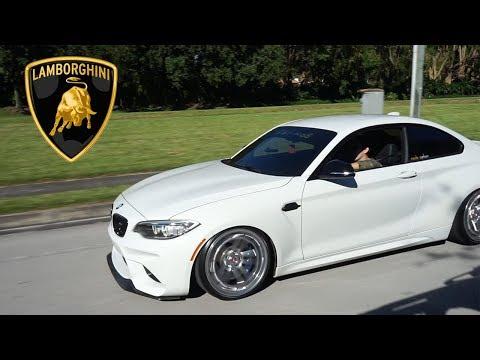 Fire Spitting BMW M2 meets Lamborghini Aventador