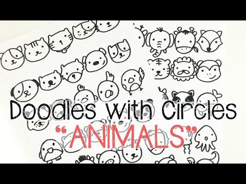 Draw Cute KAWAII ANIMAL DOODLES   Doodles with Circles