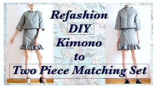 Sewing + Refashion DIY Kimono to Two Piece Matching Set DIY Holiday...