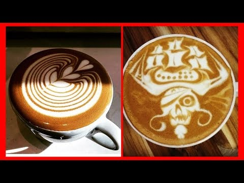 AMAZING New Cappuccino Latte Art Skills   2019 Free Pour Compilation  21