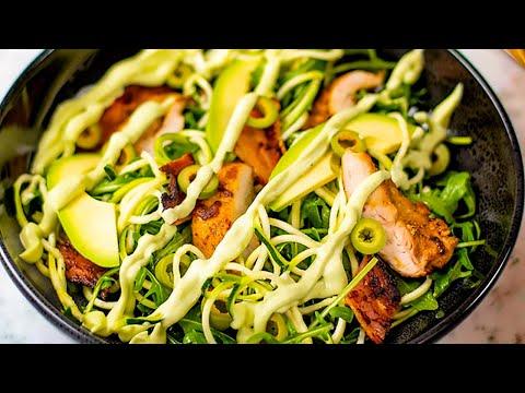 Keto Chicken & Bacon Zoodles Salad Recipe with Avocado (Easy to Make & Delicious)