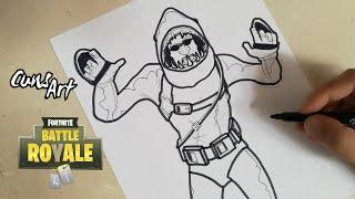COMO DIBUJAR  A CHOMP SR. | SHARKMAN DE FORTNITE | how to draw chomp sr.