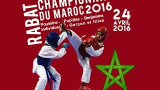 FRMK :Championnat du Maroc 2016 KUMITE Poussins - Pupilles - Benjamins Ind G/F 24 Avril 2016 à RABAT