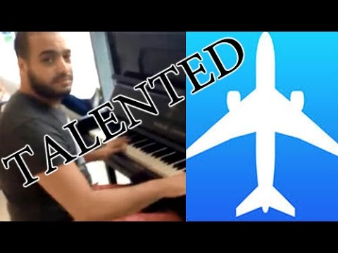 An Arab at an airport entertains passengers in his own way شاب لبناني يدهش المسافرين