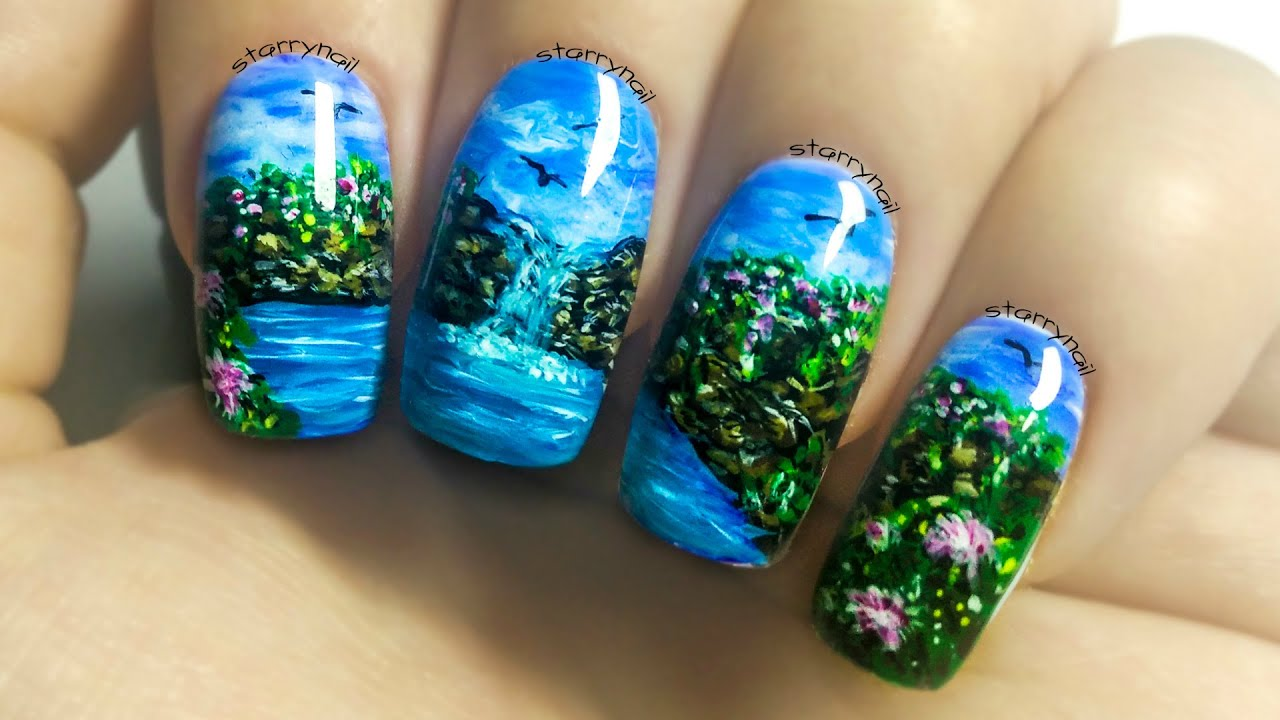 Grassy Waterfall Nail Art: Waterfall Freehand Nail Art Tutorial