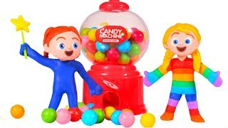 SUPERHERO BABIES PLAYING WITH A GUMBALL MACHINE ❤ SUPERHERO PLAY DOH CARTOONS FOR KIDS