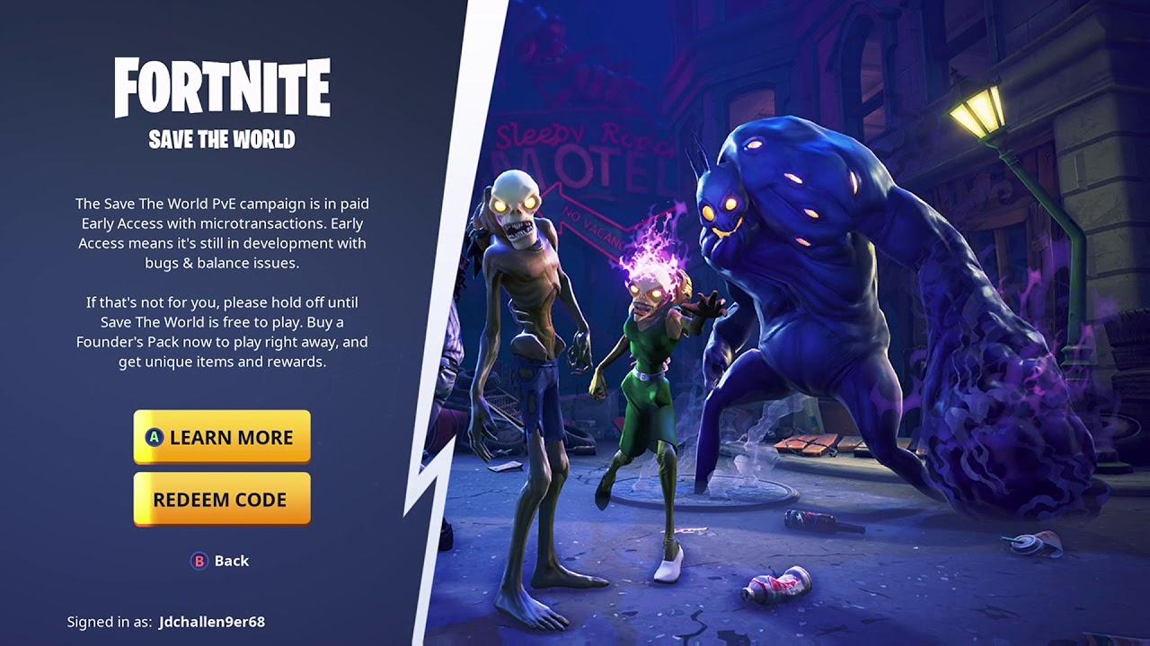 Fortnite Battle Royale - Save The World - Redeem Code ...