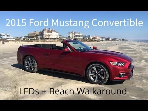 2015 ford mustang convertible led sequence and walkaround on beach youtube. Black Bedroom Furniture Sets. Home Design Ideas