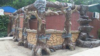 как сделать беседку столбы в виде деревьев из арт бетона и на углу фонтан в виде скалы