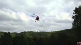 Rettungshubschrauber Christoph 7 startet in Asel-Süd nach Fahrradunfall