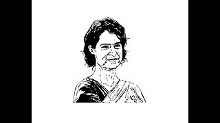 How to draw Priyanka Gandhi face pencil drawing step by step