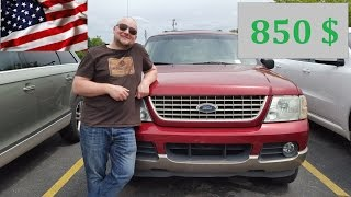 Покупаем машину в Америке на аукционе за 850$. Ford Explorer 2002 4.0(Вот и первая собственная машина в Америке!! Мы купили Форд Эксплорер 2002 года с 4 литровым мотором за 850$!!!..., 2016-05-26T12:15:15.000Z)