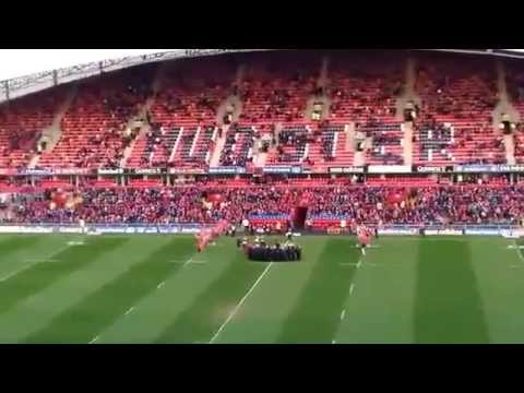 Jean Wallace 'Stand Up and Fight' with Munster supporters club choir. Thomond Park 12th April 2014