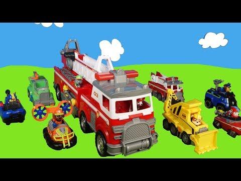turm-brennt--spielzeugautos-von-paw-patrol-im-einsatz--rettungsfahrzeuge-in-action