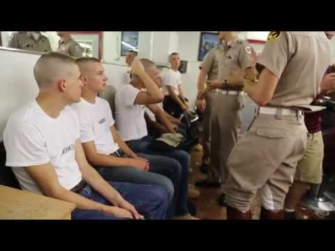 Texas A&M Corp of Cadets Fish Haircut Day
