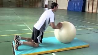 allongement bras sur swiss ball