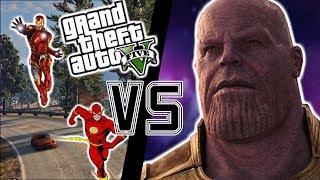 THANOS VS SUPERHEROS (IRON MAN, FLASH AND MORE) (GTA 5 Mods)