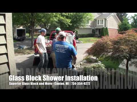 Custom Glass Block Bathroom Shower Installation