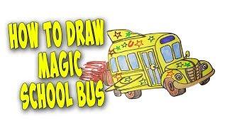 How to Draw Magic School Bus Easy – Mr. Cute Cartoon Drawing Club