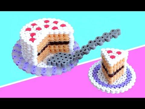 PASTEL o TARTA 3D de hama beads (perler bead)