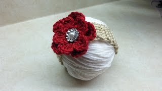 How to #Crochet easy baby headband with flower #TUTORIAL #188