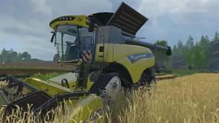 Мультфильм про трактор и комбайн. Трактор и комбайн работают в поле.