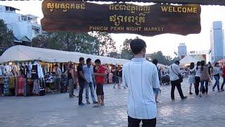Phnom Penh Night market across from the riverside near Phsar Chas old market