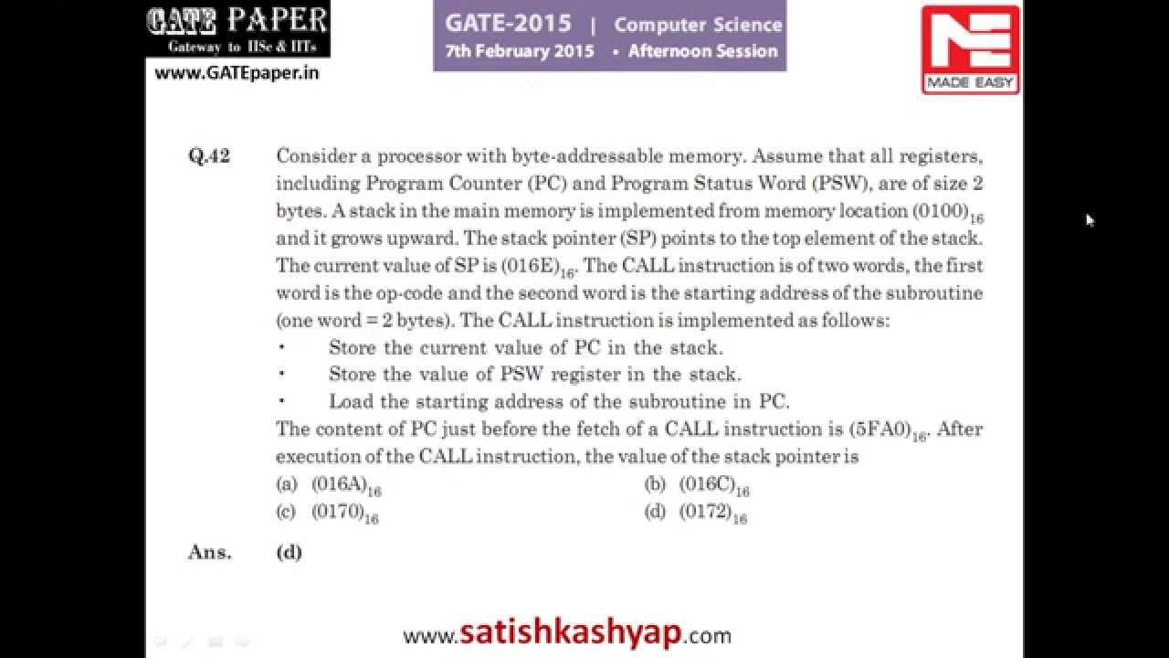 Gate solved papers computer science free download
