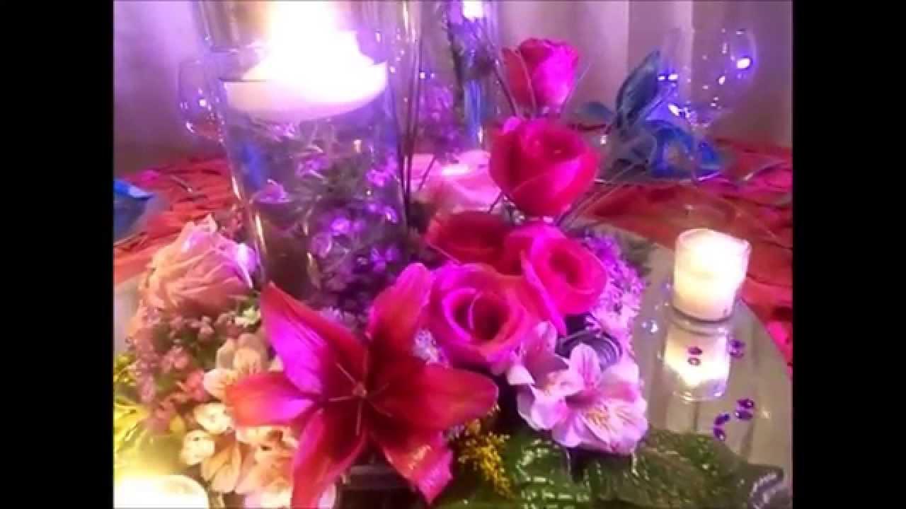 Espectacular centro de mesa para boda y xv a os youtube - Centros de mesa para 15 anos ...