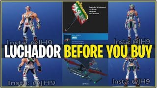 *NEW* Fortnite: *Before you Buy* LUCHADOR SKINS,Glider, and More! (Exclusive Glider Trail Included!)