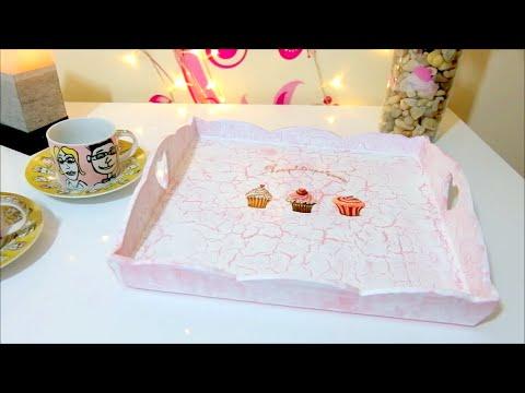 DIY crafts: vintage crackle cardboard tray - Isa ❤️